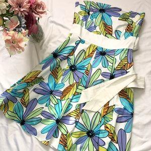Strapless Floral Print Dress 9/10